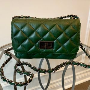 Italian Leather Hunter Green Quilted Purse